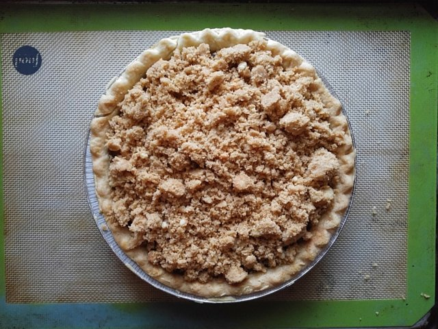 Add streusel crumble to Marie Callender's Dutch apple pie