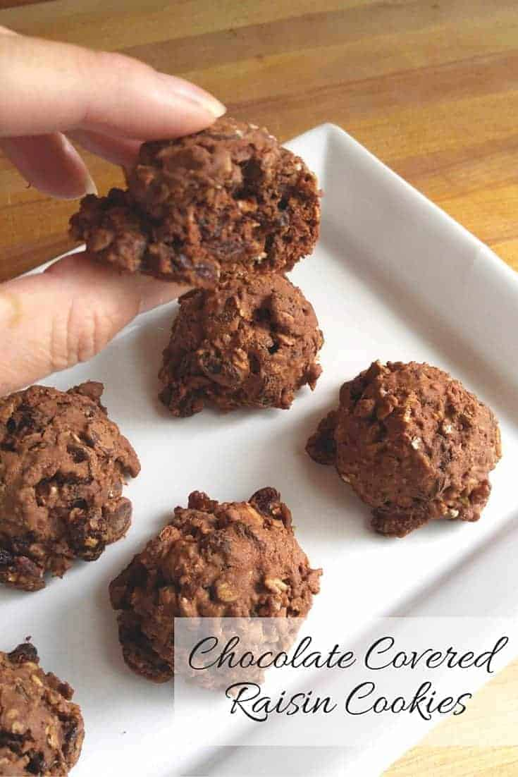 Chocolate covered raisin cookies aren't really chocolate covered, but the cocoa powder addition to this oatmeal raisin cookie recipe meant they needed less sugar but taste amazingly decadent and are super easy to make