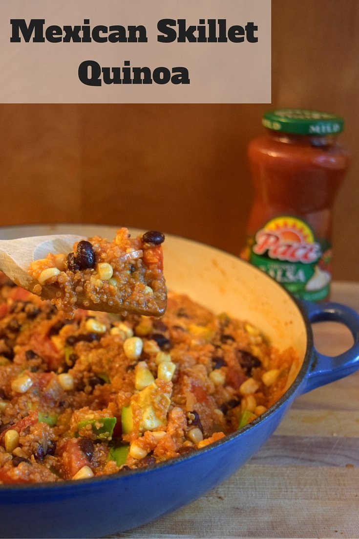 Mexican Quinoa Skillet Recipe that is ready in under a half hour. Vegan, dairy free, gluten free, soy free, and overall allergen friendly. Healthy one pot recipe for a weeknight dinner!