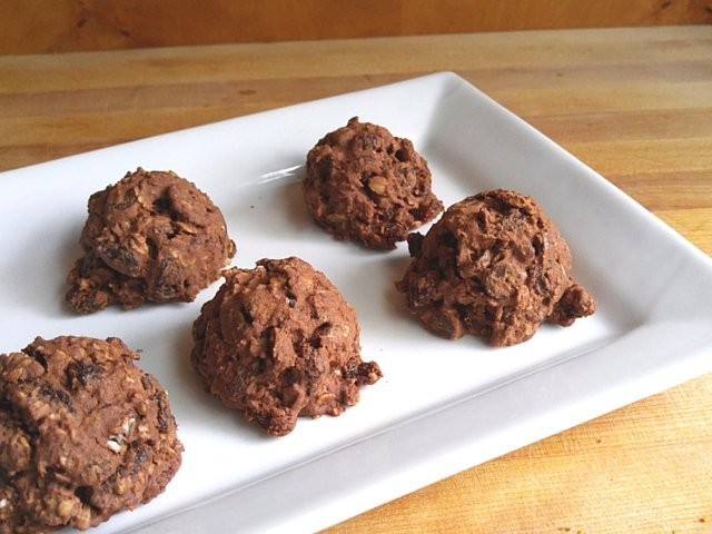 Plate of chocolate covered raisin cookies