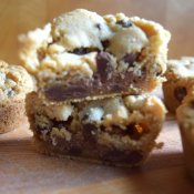 giant candy bar stuffed cookies