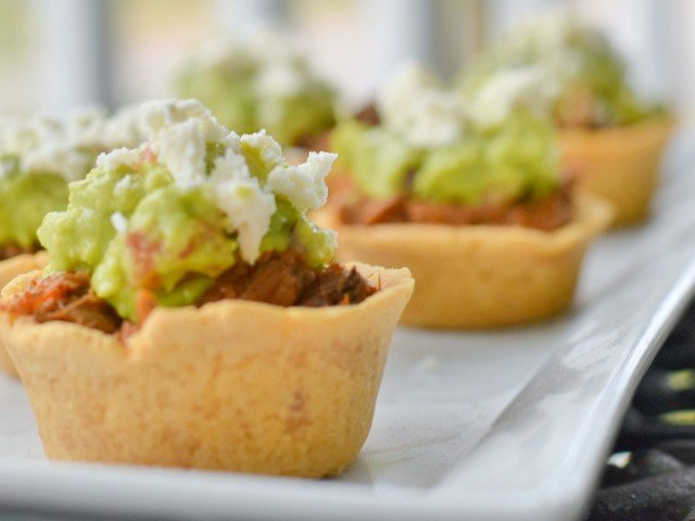 Crockpot beef in masa cups ready to serve