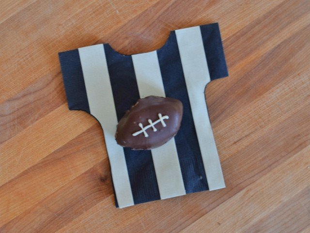 Football OREO Cookie Ball on a referree napkin