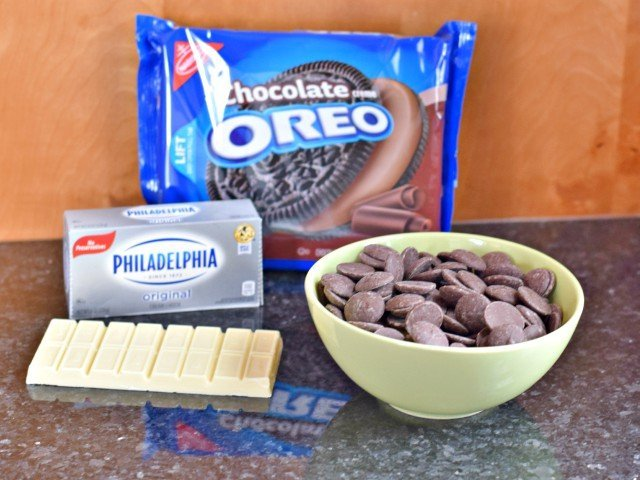 Ingredients for football OREO cookie balls