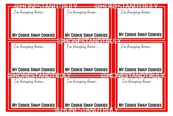 Free cookie swap labels Printable for posting
