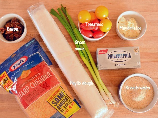 Ingredients for tomato bacon cups