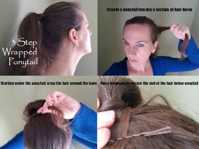 Easy 3 step wrapped ponytail tutorial