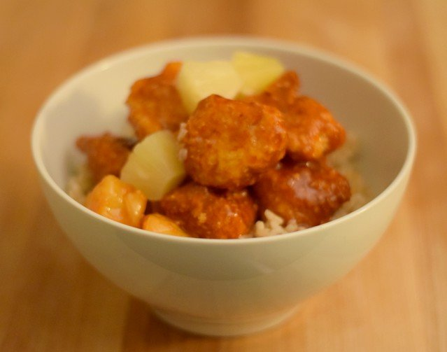 Delicious bowl of sweet and sour chicken