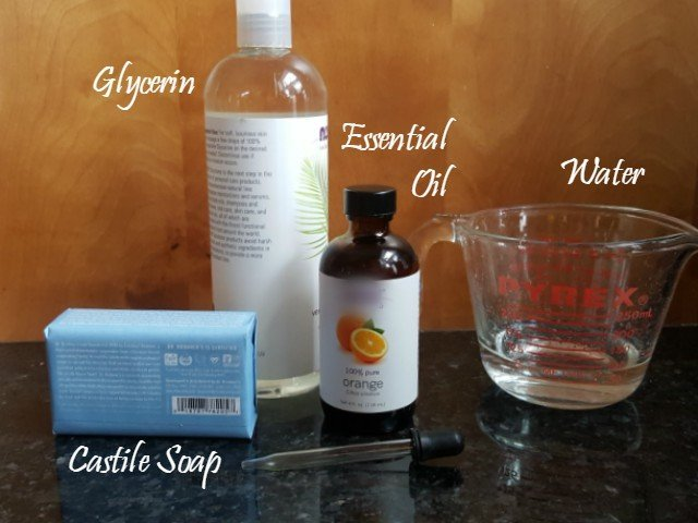 Ingredients needed for DIY Bubble Bath