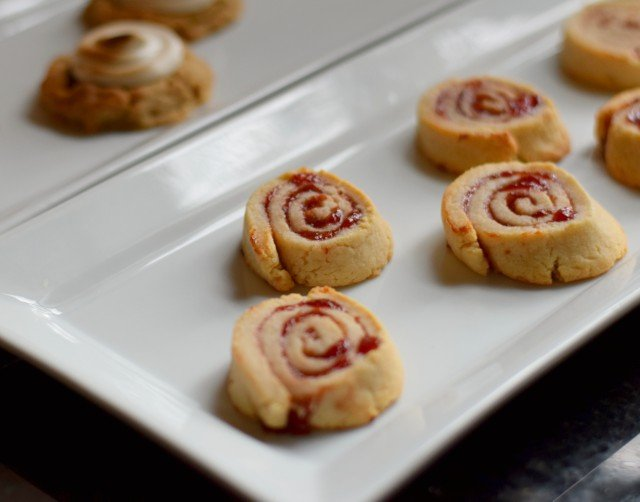 Pinwheel Cherry Pie Cookies on a plate