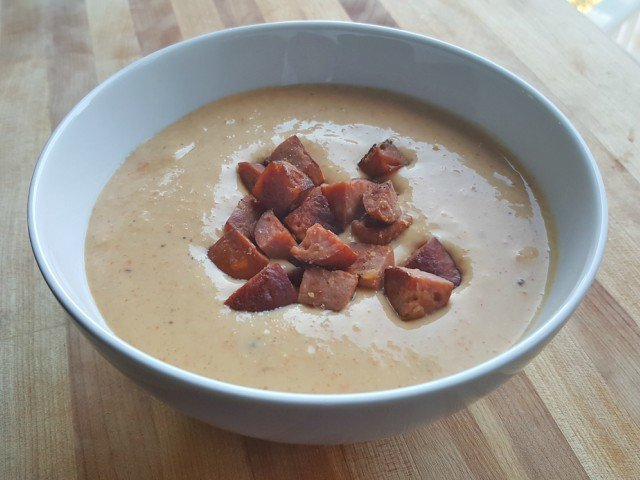 Beautiful bowl of cheese and sausage soup