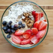 Beautiful homemade red white and blue smoothie bowl