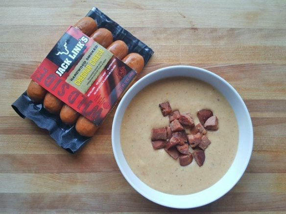 Bowl of chees and sausage soup with Jack Link's sausage