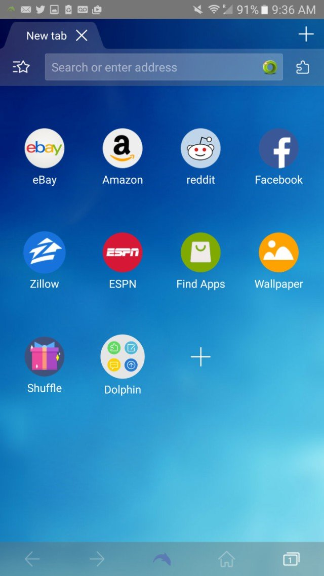 Customize your favorites screen on the Dolphin Browser