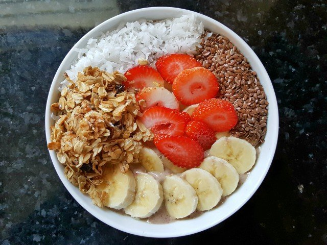 Delicious protein power smoothie bowl