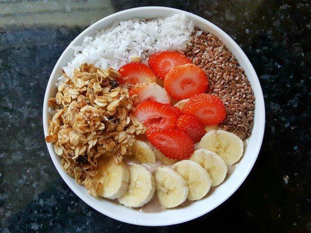 Delicious protein power smoothie bowl
