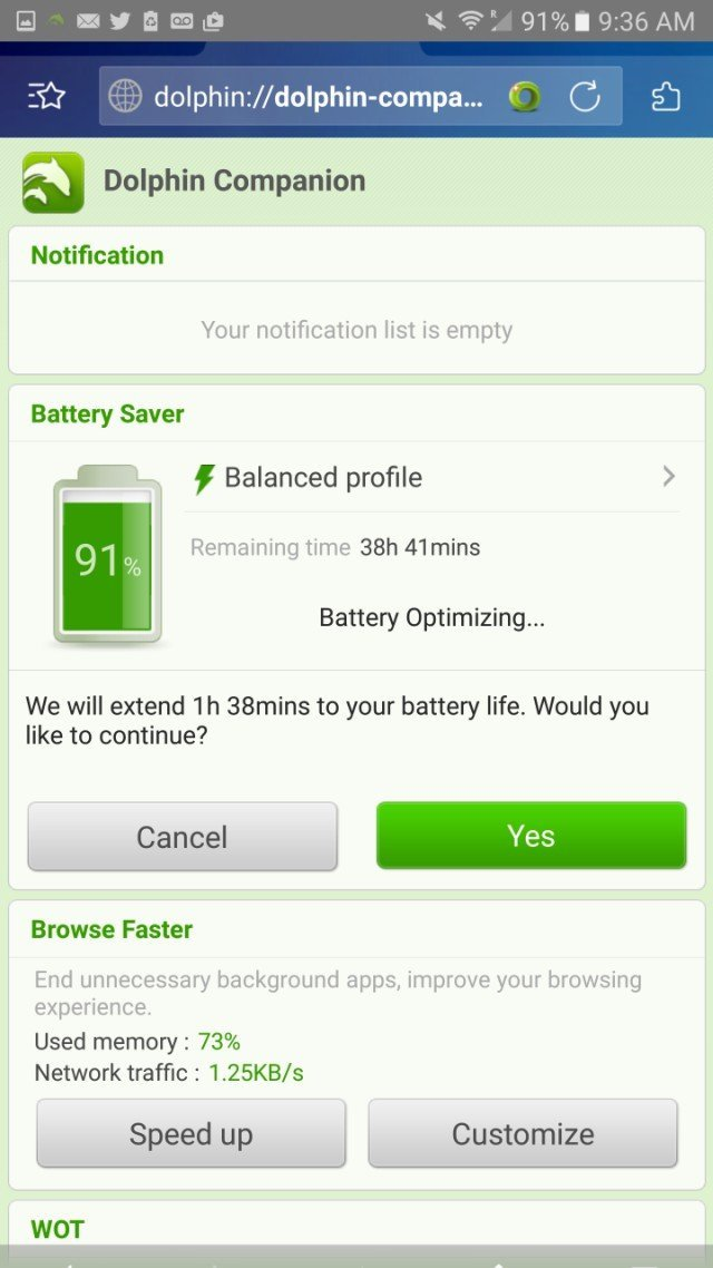 Dolpin browser add on to optimize battery life