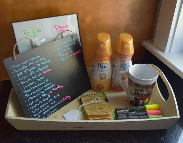 Easy morning routine tray to keep everything in one spot