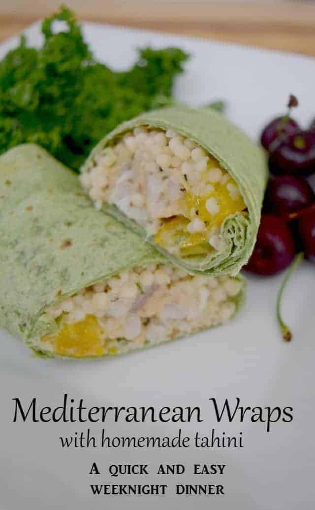 Mediterranean Wraps - a quick and easy weeknight dinner recipe with homemade tahini. Grilled pollock burgers add protein to this tasty meal for a healthy alternative.