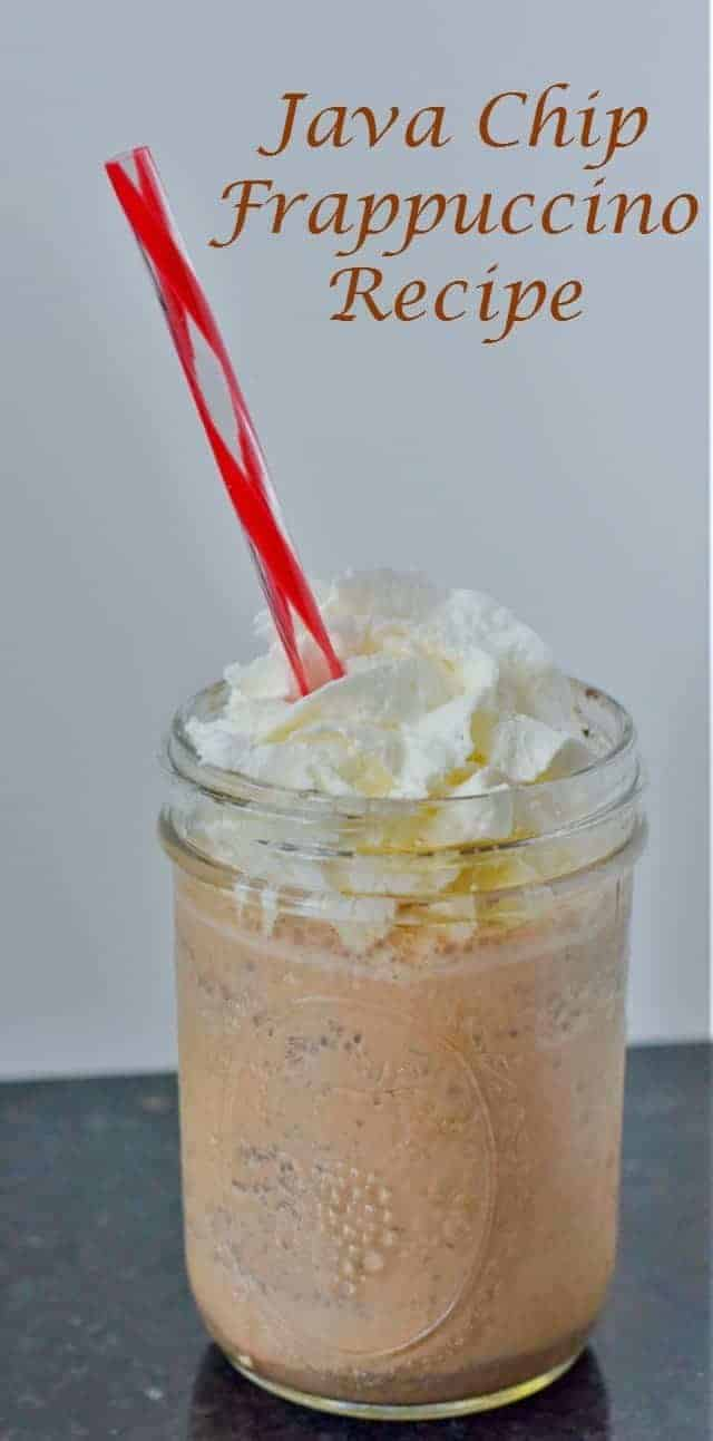 Easy and delicious homemade java chip frappuccino recipe as a copycat from Starbucks with fewer ingredients and calories