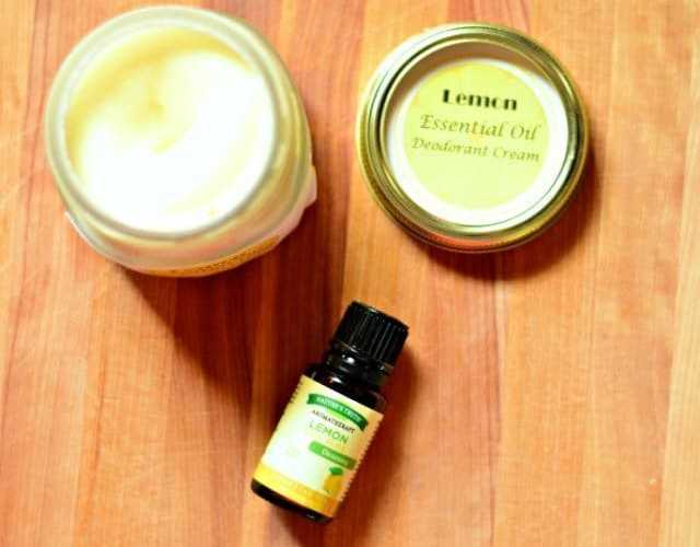 Homemade DIY deodorant cream with lemon essential oil