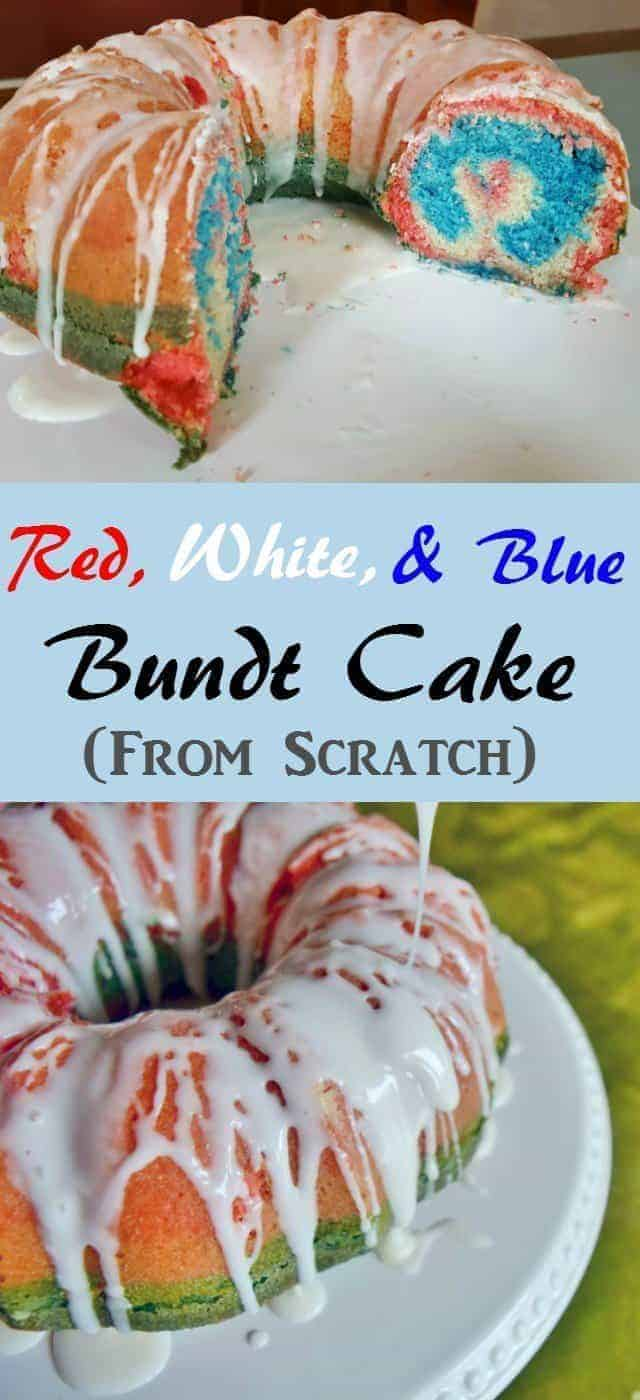 Red White and Blue Bundt Cake from scratch easy to make, more fun to eat. Simple recipe with a fun patriotic twist for a 4th of July picnic or an Olympics viewing party. Not too sweet and easily made dairy free.