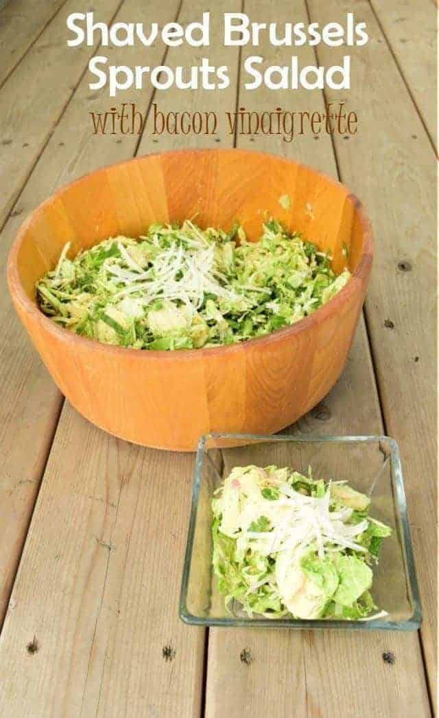 Shaved Brussels Sprouts Salad with bacon vinaigrette recipe for a quick raw salad in the summer that won't wilt and has tons of flavor.
