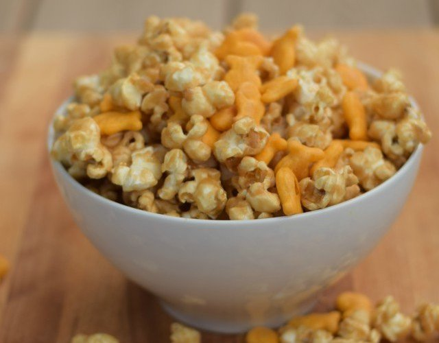 After school snacking on homemade chicago mix popcorn