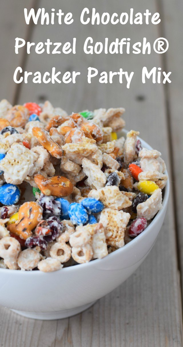 Recipe for a White Chocolate Pretzel Goldfish Cracker Party Mix. A perfect blend of salty and sweet that makes a delicious snack or dessert. Serve it as a back to school treat or make it for a party.
