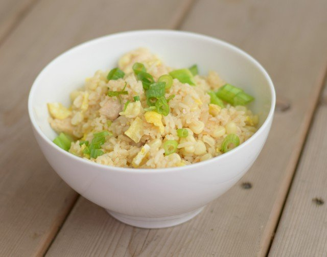 Bowl of easy 30 minute homemade chicken fried rice