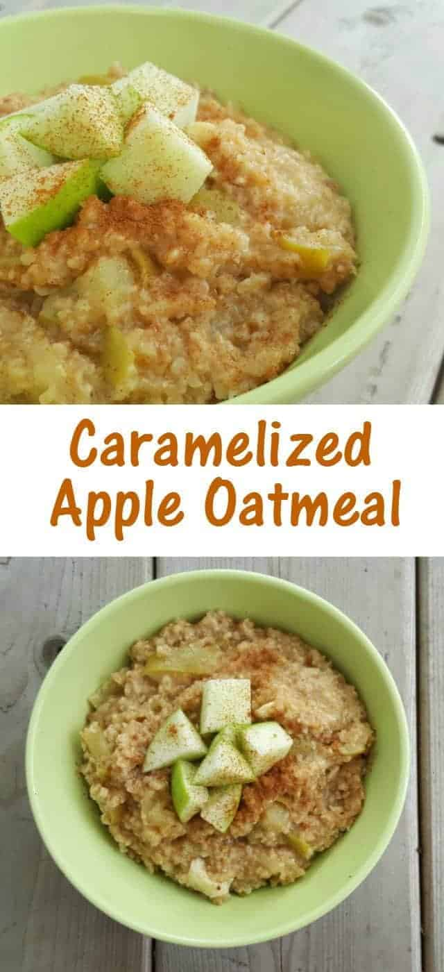 Caramelized apple oatmeal recipe. Secret ingredient gives this protein and a great creamy texture. Make this in your rice cooker for a delicious and easy breakfast