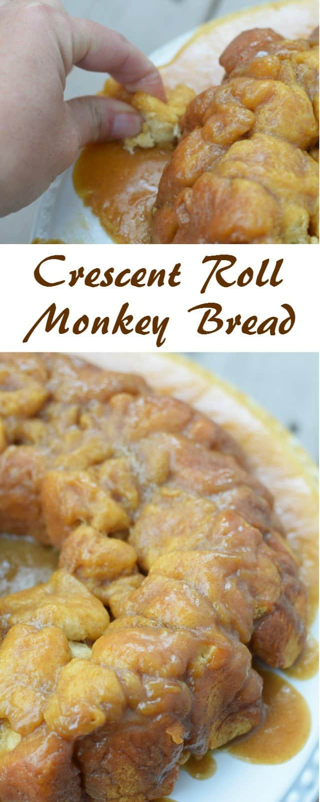 Delicious and easy crescent roll monkey bread recipe. This comes together quickly for a special occasion breakfast for company or a fun weekend treat for your family brunch.