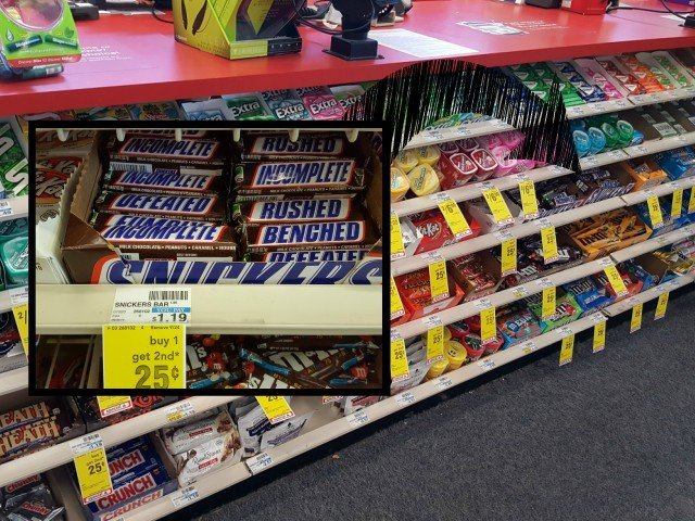 Find Snickers football packaging at CVS