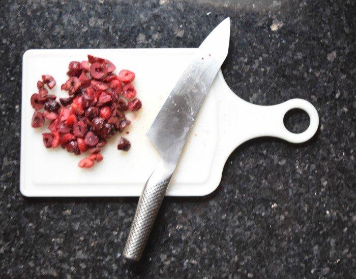 Chop frozen cherrries