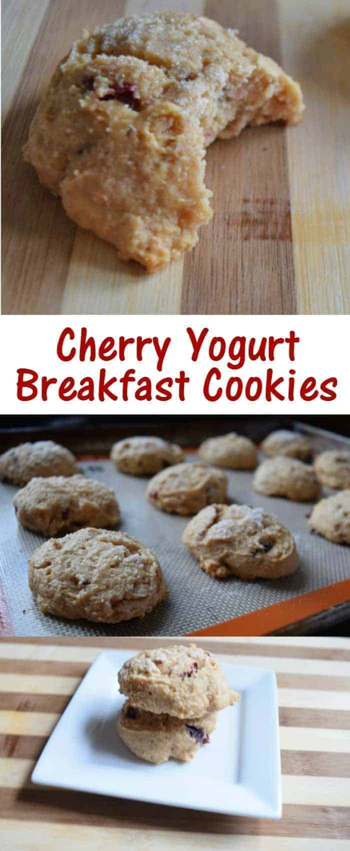 This recipe for cherry yogurt breakfast cookies is a perfect protein packed meal or snack. It's easy to make and has less sugar than you'd expect. Perfect for a treat!