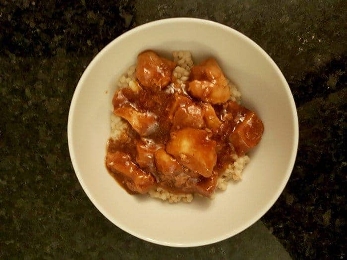 Delicious bowl of instant pot honey bourbon chicken