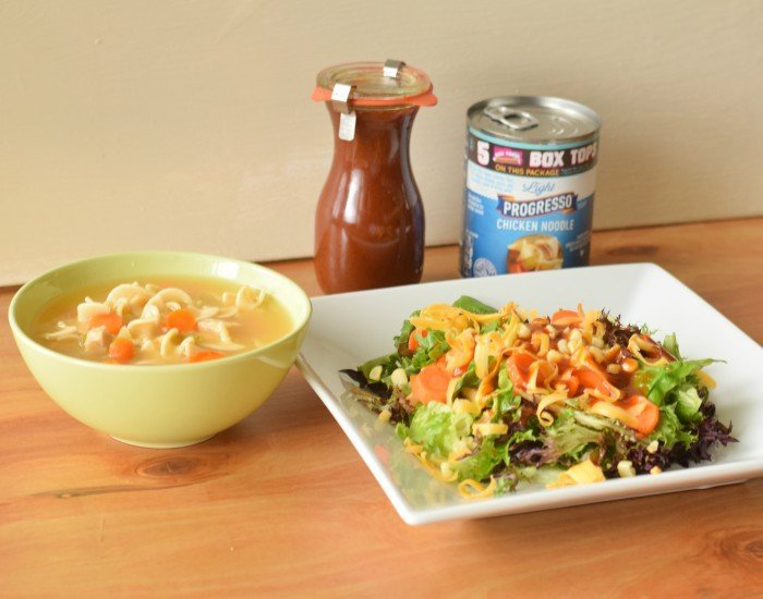 Delicious weeknight dinner of soup and salad with homemade bbq vinaigrette