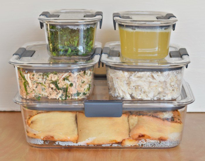 Store weekly meal prep in Rubbermaid Brilliance easy stacking containers