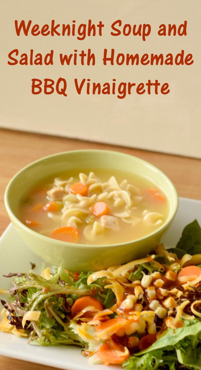 Weeknight soup and salad dinner with homemade bbq sauce vinaigrette recipe. Gluten free and dairy free, plus kid tested and approved. Finally get your kids to enjoy salads!