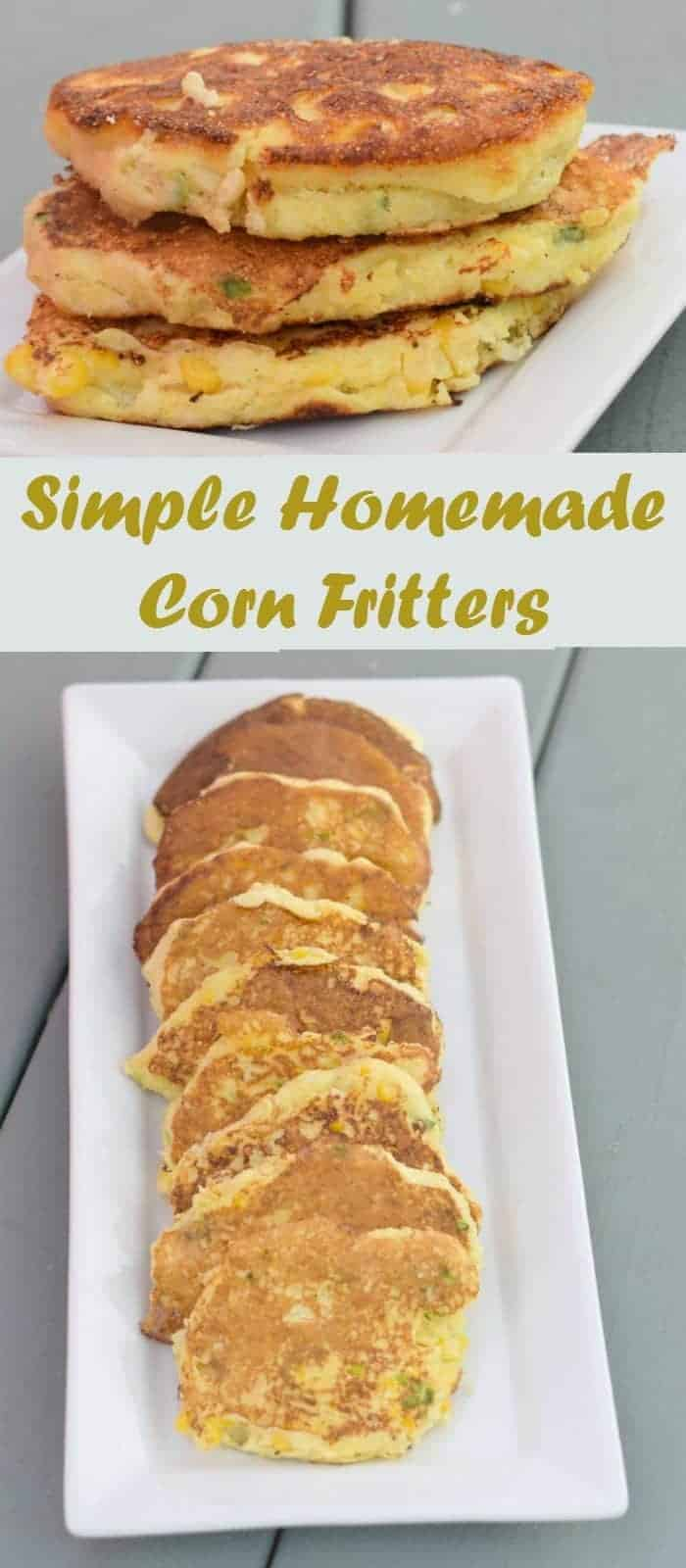 Simple homemade corn fritters recipe. A delicious gluten free appetizer to enjoy alone or with salsa or guacamole. This recipe is ready in under 20 minutes for a healthy spring dinner.