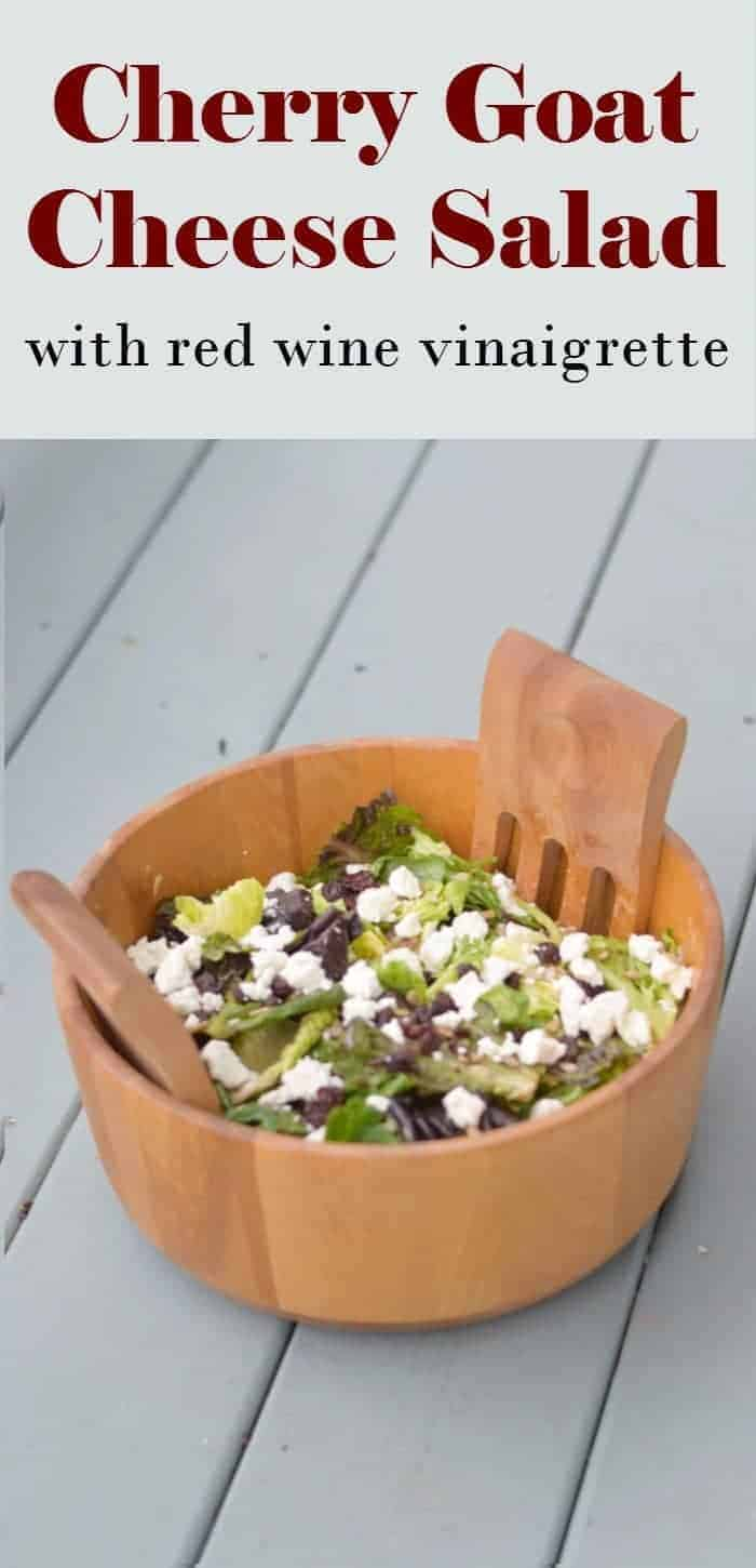 Delicious cherry goat cheese salad with a homemade red wine vinaigrette salad dressing. This easy summer salad recipe is perfect for a potluck dinner or BBQ or just for a meal at home.