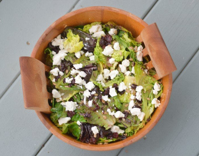 Easy summer salad with dried cherries and goat cheese