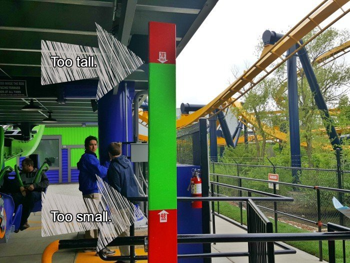Height requirements for THE JOKER Six Flags Great America too tall and too small