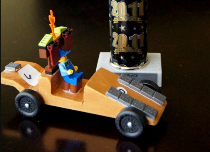 Pinewood Derby car with a LEGO