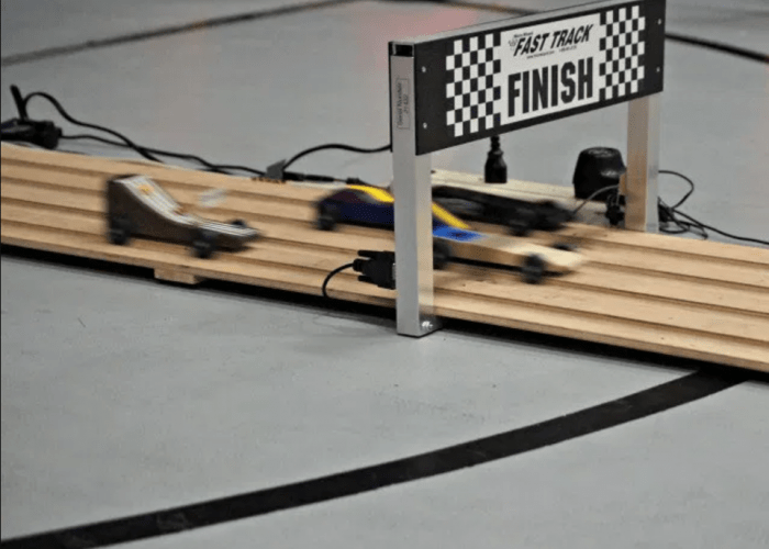 Pinewood Derby finish line