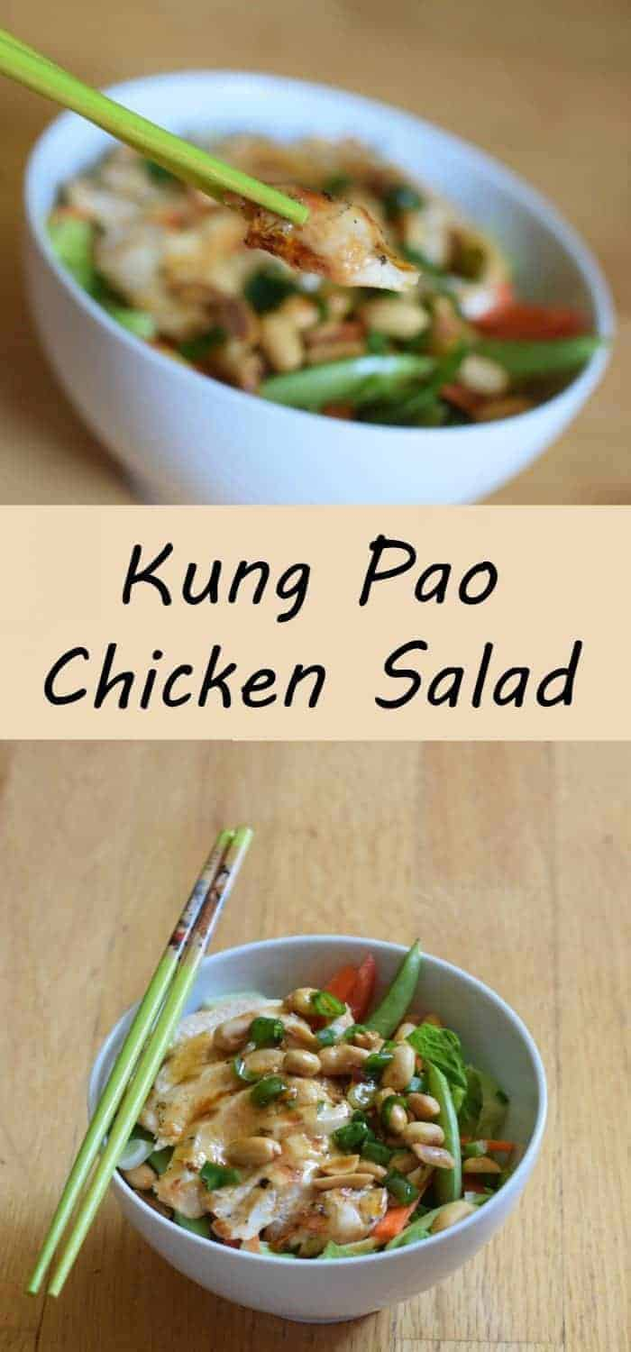 Delicious and simple kung pao chicken salad recipe for summer. Light recipe with minimal effort for a healthy weeknight dinner. Make ahead and dress before serving for a bbq or other entertaining.