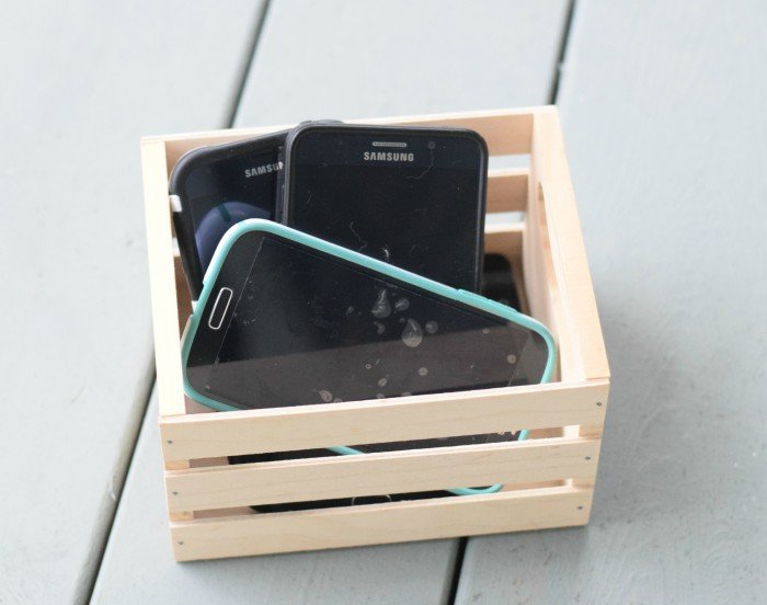 Put phones in a basket when kids come over