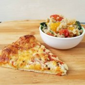 Make ahead tomato quinoa salad with pizza dinner
