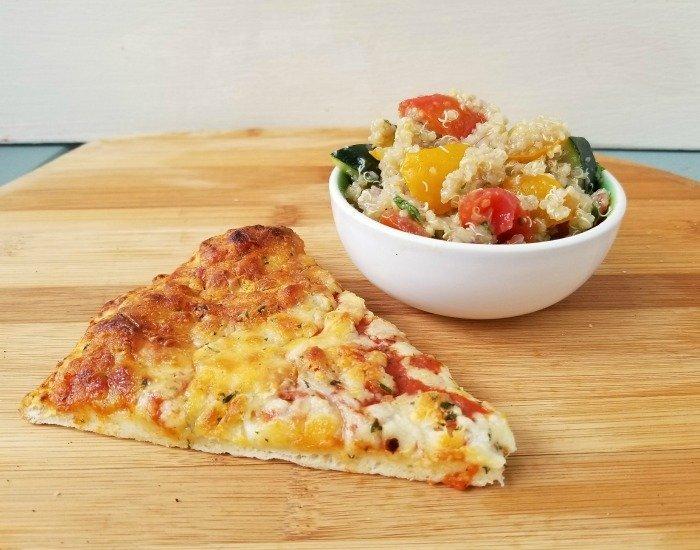 Make ahead tomato quinoa salad with pizza dinner