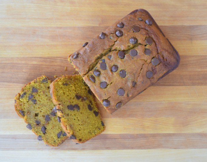 Slices of homemade chocolate chip pumpkin bread recipe